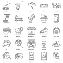 25 Linear Icons Related To Search, Online, Discount, Taco, Cooki