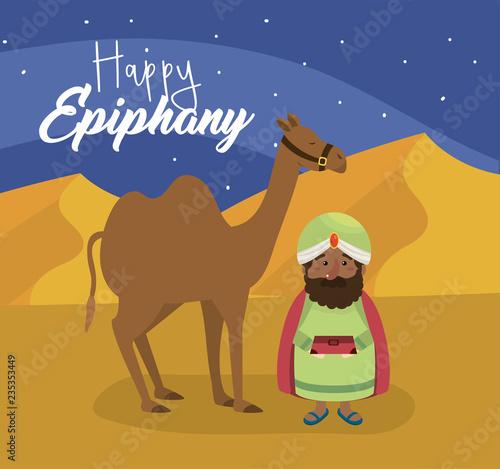 Photo balthazar magician king with myrrh and camel