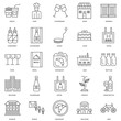 25 linear icons related to Bike, Building, Croissant, Queue, Mus