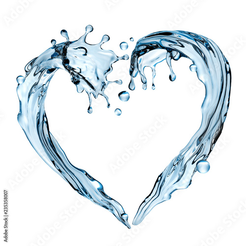 Obraz 3d render, abstract water design element, illustration, heart shape splashing, blue liquid splash isolated on white background - fototapety do salonu