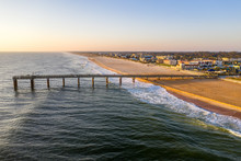 Aerial View Of Fishing Pier In Saint Augustine Beach During Sunrise