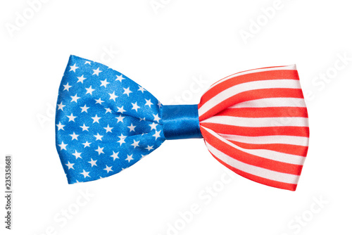 Canvas Print bow tie with USA flag isolated on white background