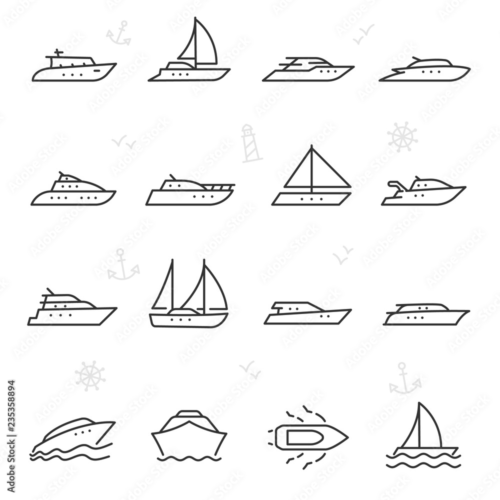 Fototapeta Yacht, icon set. yachts, ship and motor boats, linear icons. Line with editable stroke