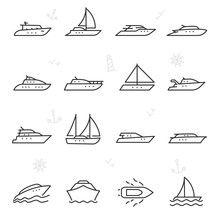 Yacht, Icon Set. Yachts, Ship ...