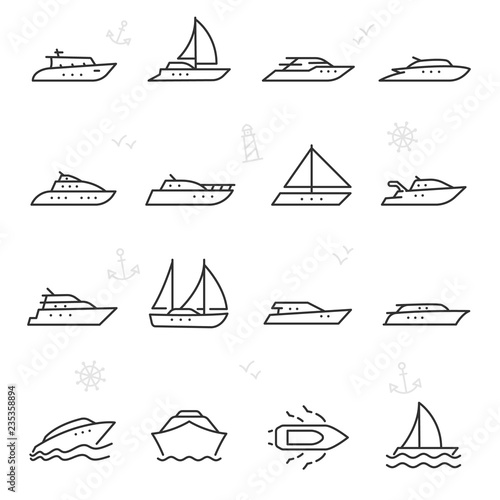 Yacht, icon set. yachts, ship and motor boats, linear icons. Line with editable stroke