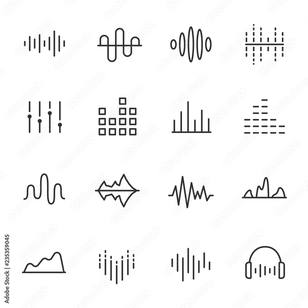 Fototapety, obrazy: Equalizer, icon set. Sound wave, linear icons. Line with editable stroke