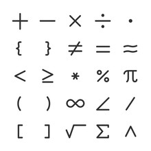 Math Symbols, Icon Set. Mathematical Calculations. Line With Editable Stroke