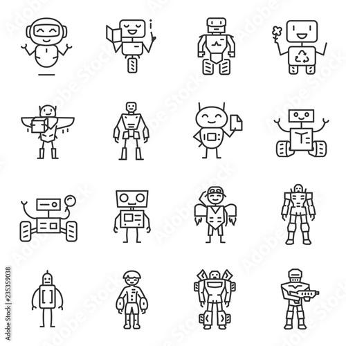 Leinwand Poster Robots, icon set
