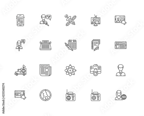 Simple Set of 20 Vector Line Icon. Contains such Icons as Journa Poster Mural XXL