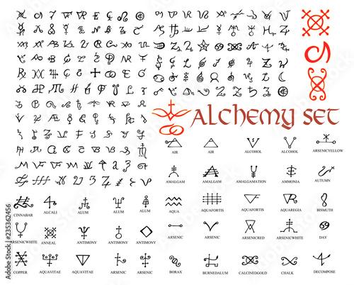 Photo  Large set of alchemical symbols isolated on white