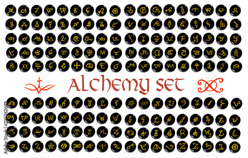 Large set of  golden alchemical symbols carved on stone isolated on white Canvas Print