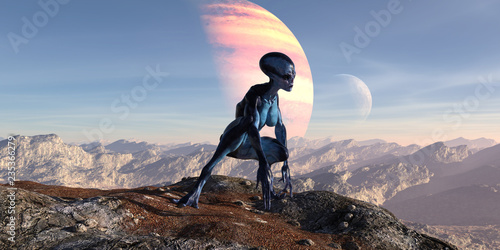 Fotografie, Obraz  3d illustration of an female extraterrestrial looking at an alien world while crouching on a mountain top with large and small planets in the background