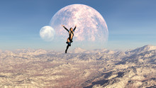 3d Illustration Of A Woman Leaping Through The Sky On An Alien World With Double Moons In The Background.
