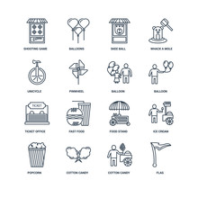 Set Of 16 Outline Icons Such A...