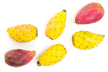 Red End Yellow Prickly Pear Or Opuntia Isolated On A White Background. Top View. Flat Lay