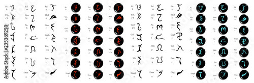 Fotografiet  Set of  hand drawn enochian magical alphabet, artificial language symbols