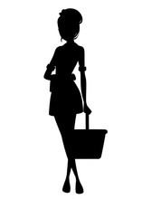Black Silhouette. Beautiful Maid In Classic French Outfit. Cartoon Character Design. Maid Holding Cleaning Bucket And Towel. Flat Vector Illustration Isolated On White Background