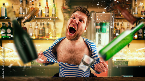 Drunk bartender tears his vest at the bar counter Billede på lærred