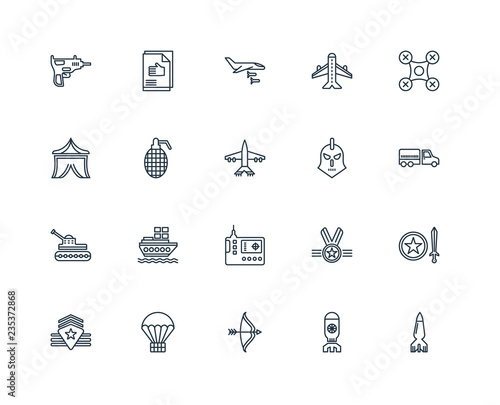фотография Set Of 20 Universal Editable Icons. Includes Elements Such As Bo
