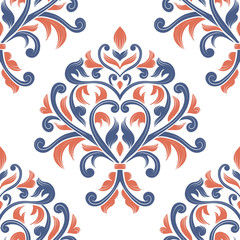 Blue and orange floral seamless pattern. Vintage vector, paisley elements. Traditional,Turkish, Indian motifs. Great for fabric and textile, wallpaper, packaging or any desired idea.