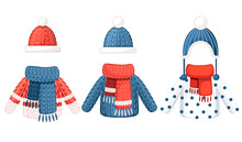 Set Of Three Winter Outfit. Knitted Hat, Scarf And Sweater With Different Pattern. Flat Vector Illustration Isolated On White Background