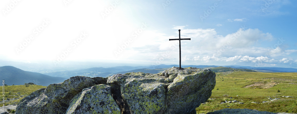 Fototapety, obrazy: a magnificent viewpoint panoramic at the top of a mountain with a religious cross. Saint Jacques de Compostelle pilgrimage