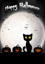 Halloween Background With Black Cat And Pumpkins