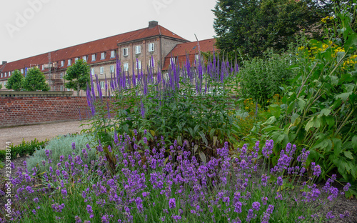 Flowers adjacent to a castle in Copenhagen, Denmark Canvas Print