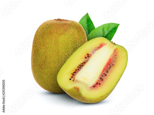 whole and half red kiwi fruit with green leaf isolated on white background
