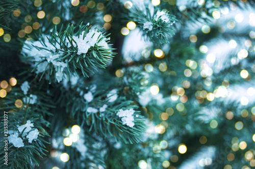 Fotografija  Closeup of Christmas tree with light, snow flake