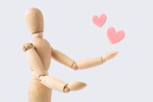 Wooden Mannequin With Pink Heart
