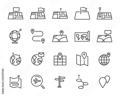 Fotografering set of world map vector line icons, such as map, way, globe