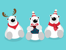 Vector Illustration Of Isolated Cute Polar Bear Cartoon Character Sitting, Wearing Red Scarf On Blue Background Celebrating For Christmas Party.