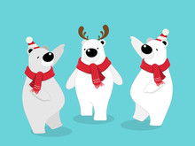 Vector Illustration Of Isolated Cute Polar Bear Cartoon Character Standing, Wearing Red Scarf On Blue Background Celebrating For Christmas Party.