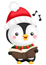 A Vector Of A Penguin Singing Song From A Book