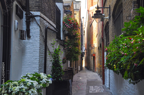 View from a narrow street at sunset