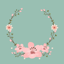 Floral Greeting Card And Invitation Template For Wedding Or Birthday Anniversary, Vector Circle Shape Of Text Box Label And Frame, Pink Sakura Flowers Wreath Ivy Style With Branch And Leaves.