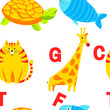 Alphabet animals and letters study material for children vector.