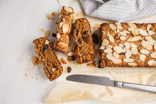 Vegan Carrot Bread With Almonds On A White Background.