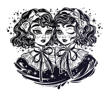 Gothic Twin Witch Girls Heads ...