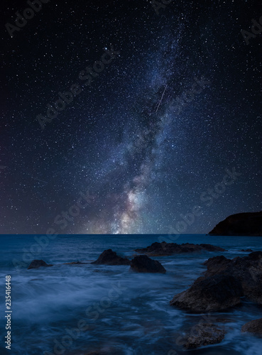 Recess Fitting Night blue Vibrant Milky Way composite image over landscape of beautiful rocky coastline in Mediterranean Sea