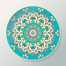 Round Mandala Pattern. Vector Decorative Ceramic Plate With Ornament In Ethnic Style. Vector Illustration