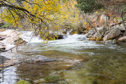 Tuinposter Water torrent of the Manzanares river in the Pedriza area of Madrid