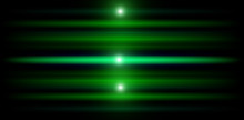Neon Glowing Green Lines. Flash Lights. Abstract Illustration With Blurred Glowing Lights. Background With Shining Lens Flares. Wide Format