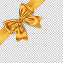 Realistic Yellow Gift Bow And Ribbon Isolated On Transparent Background.