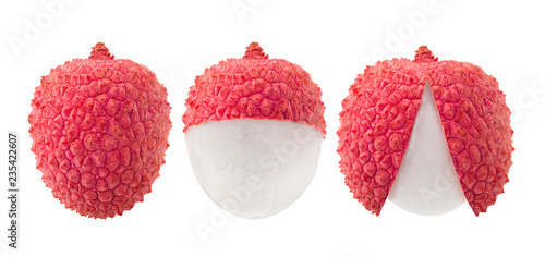 Obraz lychee, clipping path, isolated on white background, full depth of field - fototapety do salonu
