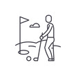 Golf player line icon concept. Golf player vector linear illustration, sign, symbol