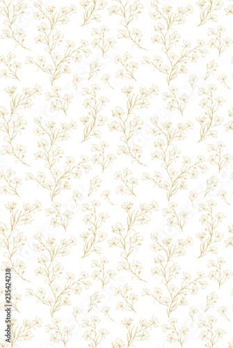 delikatny-kwiatowy-wzor-powtarzalny-wektor-zlote-galazki-kwiaty-i-liscie-na-bialym-tle-subtelny-design-urocza-recznie-rysowane-galazki-ilustracji