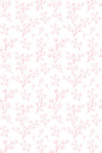 Delicate Floral Repeatable Vector Pattern. Pink Twigs, Flowers And Leaves On A White Background. Subtle Design. Lovely Hand Drawn Sprigs Illustration.