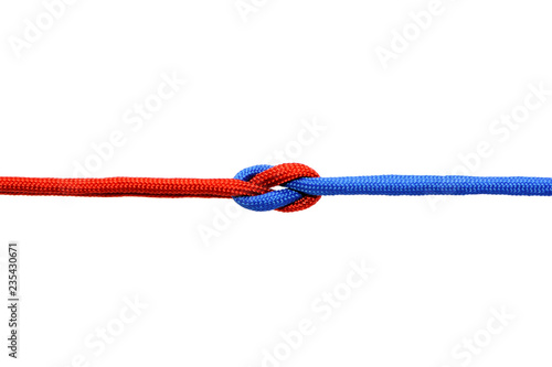 Obraz Knot on a cord on a white background . - fototapety do salonu